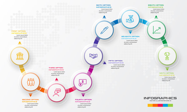 Circle timeline infographic template,Business concept with 9 options,Vector illustration.