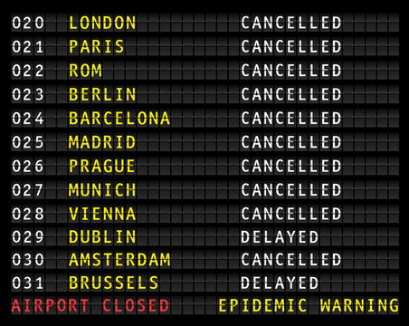 Flight information display  showing cancelled flights because of corona epidemic warning, vector