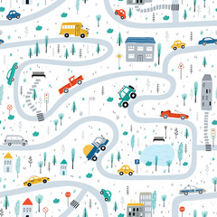 Poster Cartoon cars Cute children's seamless pattern with cars, road, Park, houses on a white background. Illustration of a town in a cartoon style for Wallpaper, fabric, and textile design. Vector