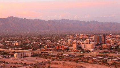Poster Light pink Tucson Skyline Showing the Downtown of Tucson after Sunset from Sentinel Peak Park, Tucson Arizona, USA