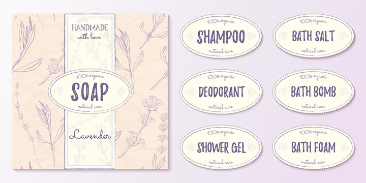 Natural cosmetics design kit with seamless pattern and logo templates.