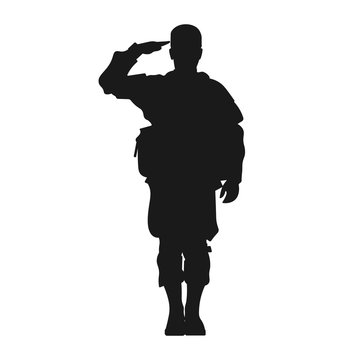 Standing military army soldier giving salute silhouette sign or symbol or icon or logo. Veteran's day or independence day salutation. 4th of July patriotism - Simple vector illustration.