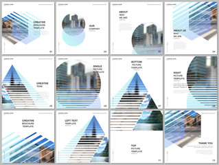Brochure layout of square format covers design templates for square flyer leaflet, brochure design, report, presentation, magazine cover. Abstract geometric backgrounds with simple modern forms.