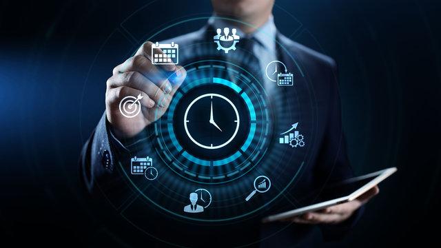 Time management project planning business internet technology concept.