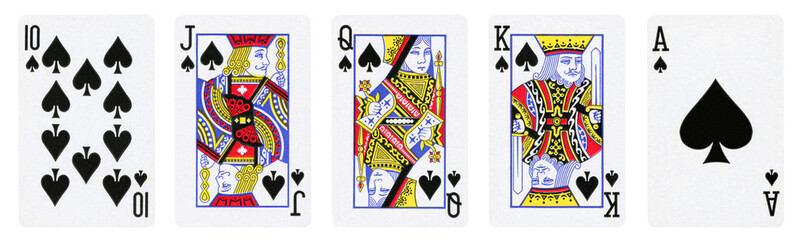 Spades Suit Playing Cards, Set include Ace, King, Queen, Jack and Ten - isolated on white.