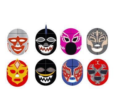 set of luchador masks on white
