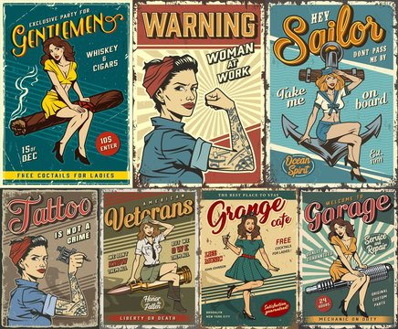 Pin up colorful posters set