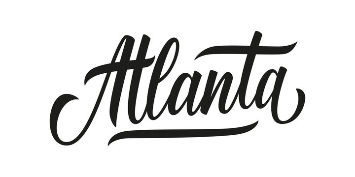 Atlanta handwritten inscription. Atlanta city name hand drawn lettering isolated on white background. Calligraphic element for your design. Vector illustration.