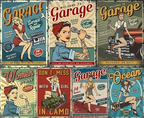 Colorful pin up posters collection