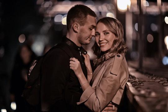 couple in love spring walk, boy and girl, city travel seasonal look