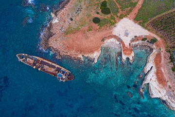 Photo sur Toile Naufrage Aerial drone view ship wreck on the beach. Pegeia near Paphos on Cyprus