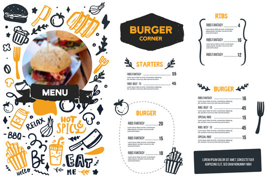 Burger menu with doodle icons and sketch burger, food background, cafe design, grill brochure, cooking flyer