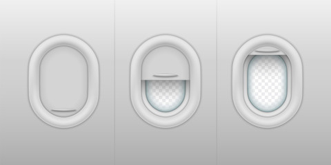 Set of isolated realistic porthole with open, close, half-open plastic shades. Vector aircraft or plane windows with closed and opened shutter. Inside and outside, interior of airplane. Flight trip