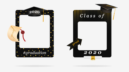 Two black graduation frame for party photo booth props vector graphic illustration. Congratulation grad quote with cap for grads with empty place for photo isolated on white background