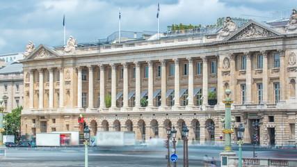 Architecture of Place de la Concorde timelapse in Paris. Paris, France. Fotobehang