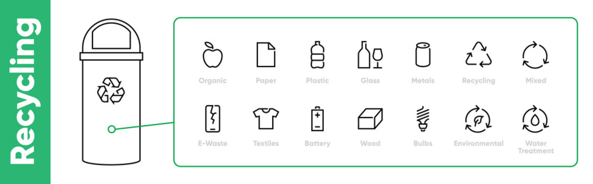 Pack of Waste and Garbage Related line editable stroke icons with Abstract Bin vector illustration.
