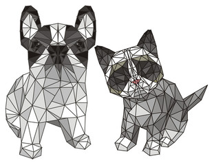 papercraft cat with dog