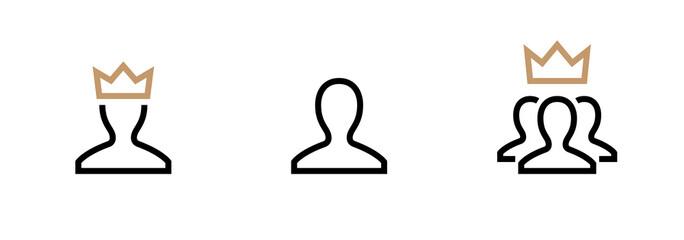 VIP Customer User icon vector. Person Profile Symbol. Avatar Sign. Editable stroke vector.