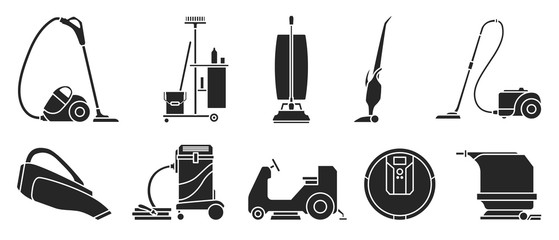 Vacuum cleaner Black vector illustration on white background . Set icon vacuum cleaner for cleaning .Black vector icon hoover for cleaning carpet.