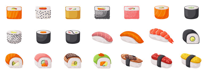 Sushi isolated vector set icon. Vector illustration japanese food on white background . Cartoon set icon roll. Wall mural