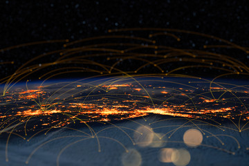 Wall Mural - Energy Digitalization and Communication technology for internet business. Global world network and telecommunication on earth and  IoT. Elements of this image furnished by NASA