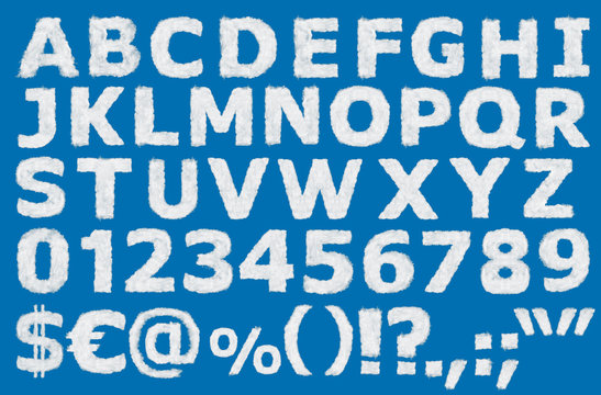 English alphabet numbers, punctuation and special characters made out of clouds put on blue background