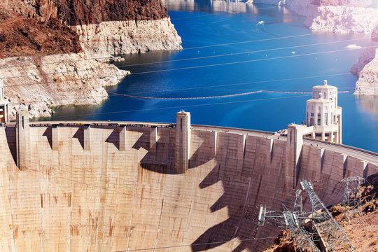 Hoover Dam in the Black Canyon of the Colorado river on Nevada Arizona border from Mike O'Callaghan Pat Tillman Memorial Bridge