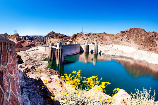 Reservoir lake panorama of concrete Hoover Dam in the Black Canyon of the Colorado river on Nevada Arizona border