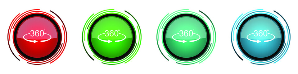Fotomurales - Panorama 360 round glossy vector icons, set of buttons for webdesign, internet and mobile phone applications in four colors options isolated on white background