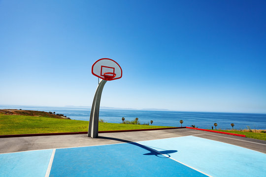 Ocean view basketball court ground at Angel Gate Park in Los Angeles California, USA