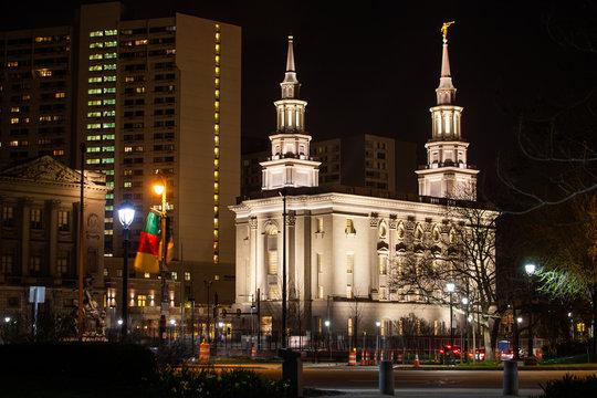 Philadelphia Pennsylvania Temple of latter-day Saints on Benjamin Franklin parkway at night