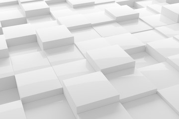 White modern shiny abstract geometrical cube array pattern background Fotoväggar