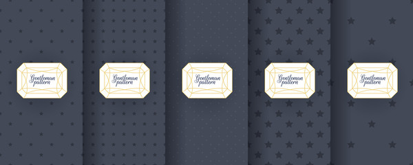 Fotorolgordijn Kunstmatig Set of dark vintage seamless backgrounds for usa packaging design. Geometric pattern in black. Suitable for premium boxes of cosmetics, wine, jewelry. Elegant vector ornament set. Fabric print.
