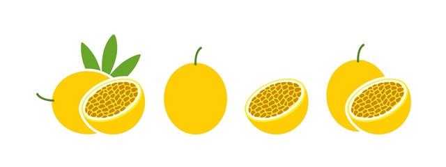 Passion fruit logo. Isolated passion fruit on white background