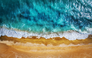 Top view aerial photo from flying drone. Beautiful beach!