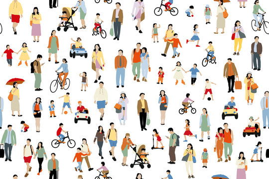 Many  people vector illustration . Group of male and female adult and children cartoon characters