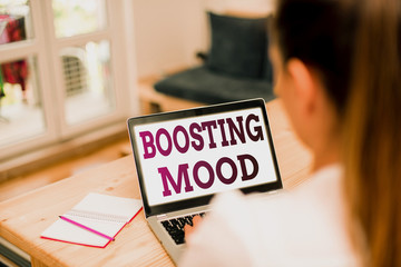 Word writing text Boosting Mood. Business photo showcasing To make someone feel more positive or more confident