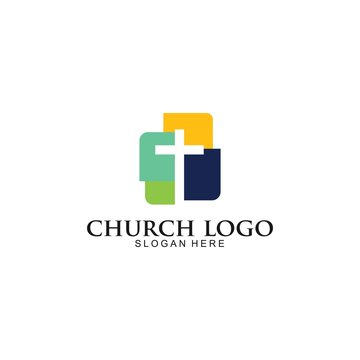 Church Logo template, Christian symbols. The Cross of Jesus, vector Illustration