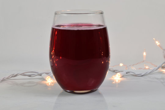 Stemless Wine Glass Mockup with Glowing White Lights