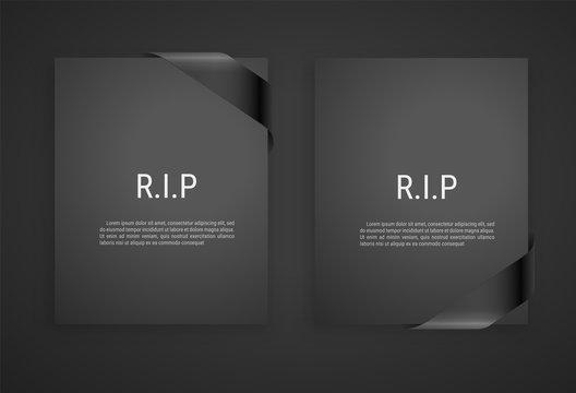 Mourning frame, funeral gray dark card, Diagonal Black Ribbon. Vector modern design element