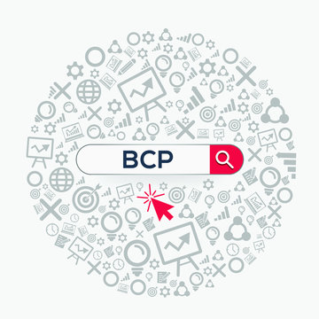 BCP mean (Business continuity plan) Word written in search bar ,Vector illustration.