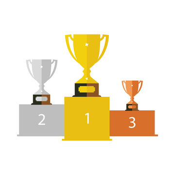 vector podium icon with cups - gold, silver and bronze