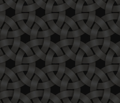 Black seamless pattern of braided circle stripes. Vector dark background illustration.