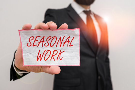 Writing note showing Seasonal Work. Business concept for Temporary employment which the workload occurs certain season Male human wear formal work suit with office look hold book