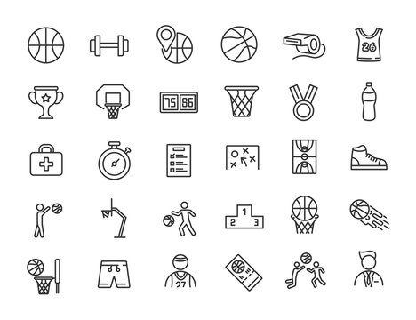 Set of linear basketball icons. Sport icons in simple design. Vector illustration