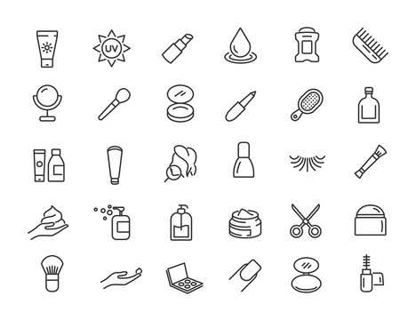 Set of linear skin care icons. Cosmetic icons in simple design. Vector illustration
