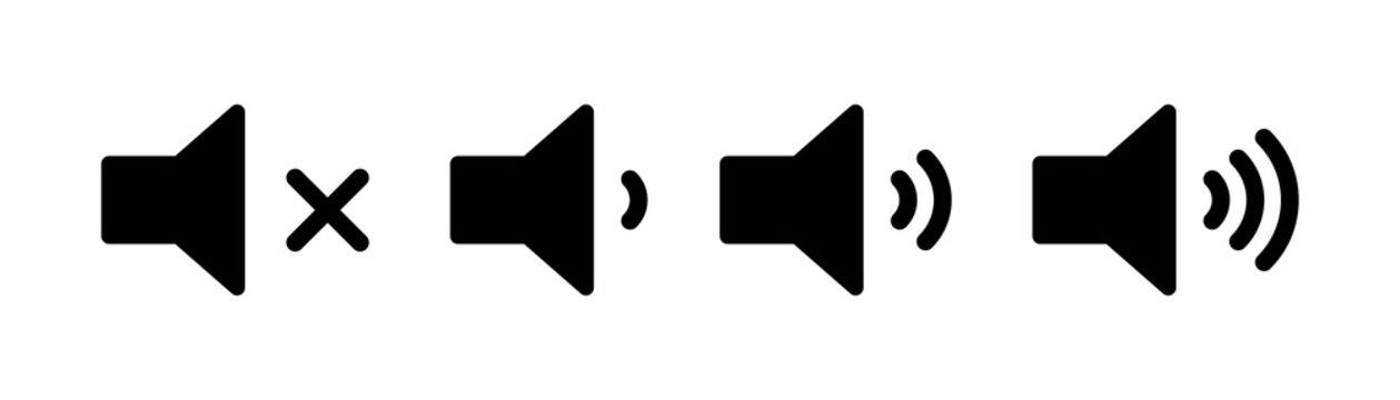 Sound volume set of icons. Vector isolated black audio icons or symbols. Speaker volume icon -audio voice sound symbol media music.