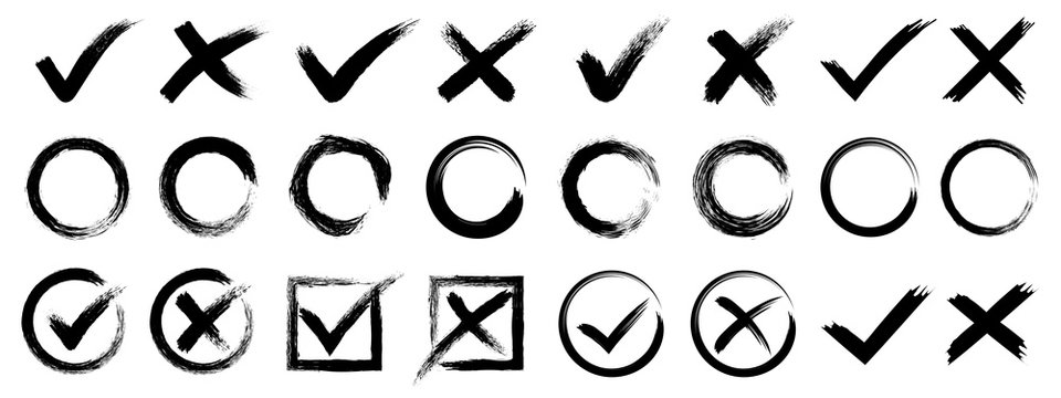 Set hand drawn check mark, tick and cross brush signs, checkmark OK and X icons, symbols YES and NO button, checkbox chalk icons, sketch checkmarks, checklist marks - stock vector