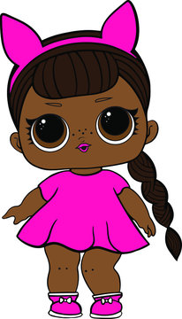 Funny black doll in pink dress decoration for baby T-shirt