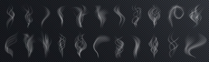 Fotobehang Rook Set of realistic transparent smoke or steam isolated in white and gray colors, fog and mist effect. Collection of white smoke steam, waves from tea, coffee, hot food, cigarettes - stock vector